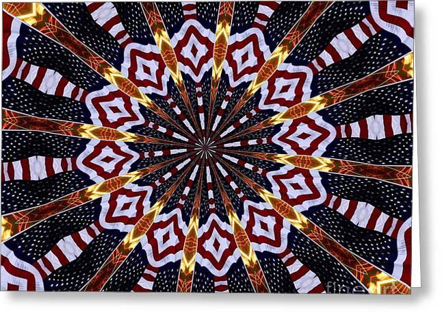 American Flag And Fireworks Kaleidoscope Abstract 2 Greeting Card by Rose Santuci-Sofranko