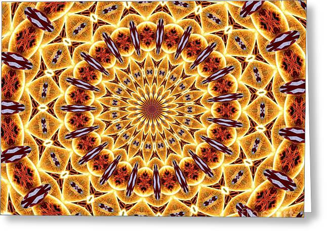 American Flag And Fireworks Kaleidoscope Abstract 4 Greeting Card by Rose Santuci-Sofranko