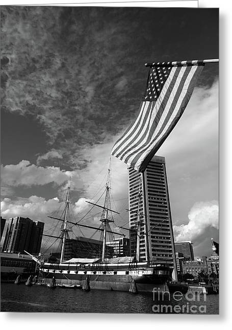 American Flag And Inner Harbor Baltimore Greeting Card