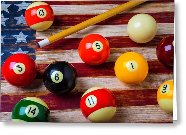 American Flag And Pool Balls Greeting Card by Garry Gay
