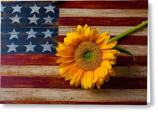American Flag And Sunflower Greeting Card by Garry Gay
