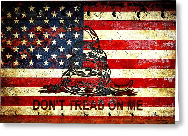 American Flag And Viper On Rusted Metal Door - Don't Tread On Me Greeting Card
