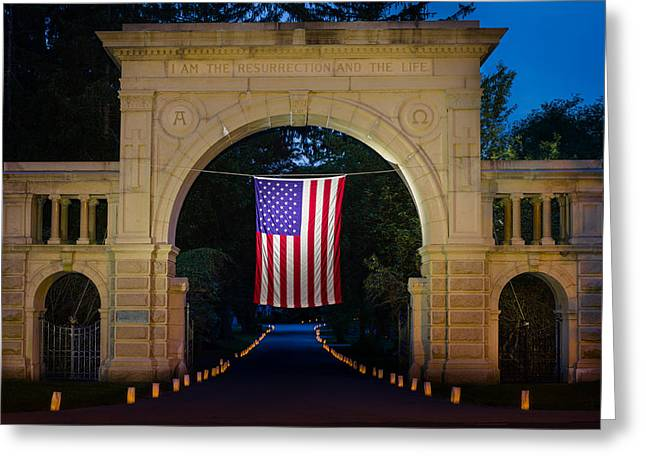 American Flag At Cemetery Gates - Mystic Ct Greeting Card