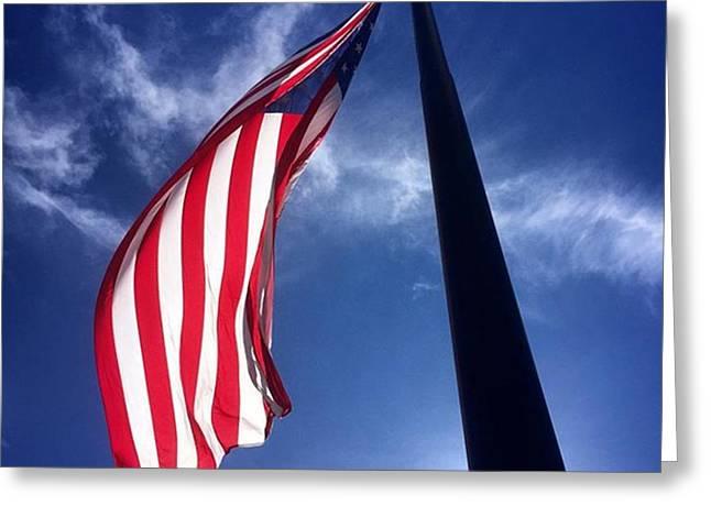 American Flag At Rick Case Honda Weston Greeting Card