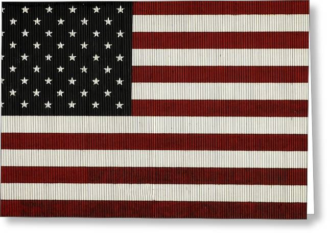 American Flag Mural On A Tin Barn Greeting Card by Chris Berry