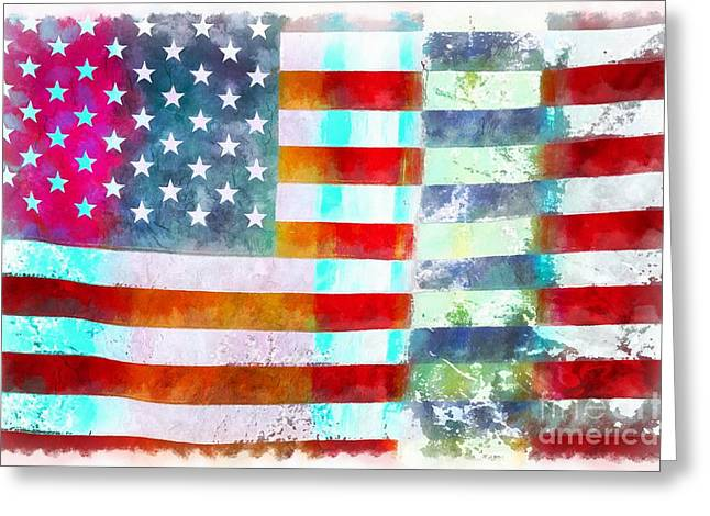 American Flag Greeting Card by Edward Fielding