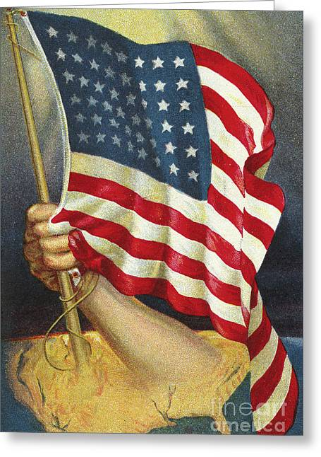 American Flag Emerging From America Greeting Card