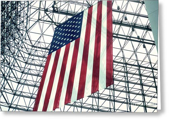 American Flag In Kennedy Library Atrium - 1982 Greeting Card by Thomas Marchessault