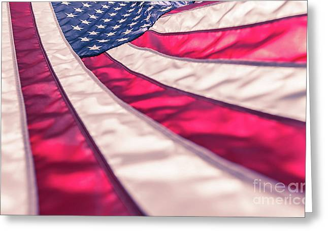 Greeting Card featuring the photograph American Flag In Red White Stripe,stars And Blue Symbolic Of Pat by Jingjits Photography