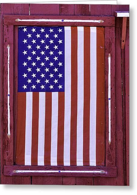 American Flag In Red Window Greeting Card