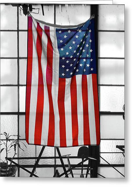 American Flag In The Window Greeting Card by Mike McGlothlen