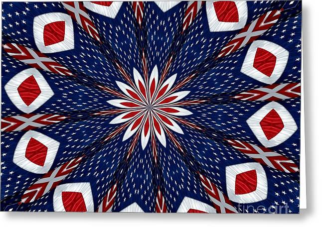 American Flag Kaleidoscope Abstract 2 Greeting Card by Rose Santuci-Sofranko