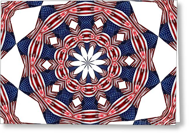 American Flag Kaleidoscope Abstract 3 Greeting Card by Rose Santuci-Sofranko