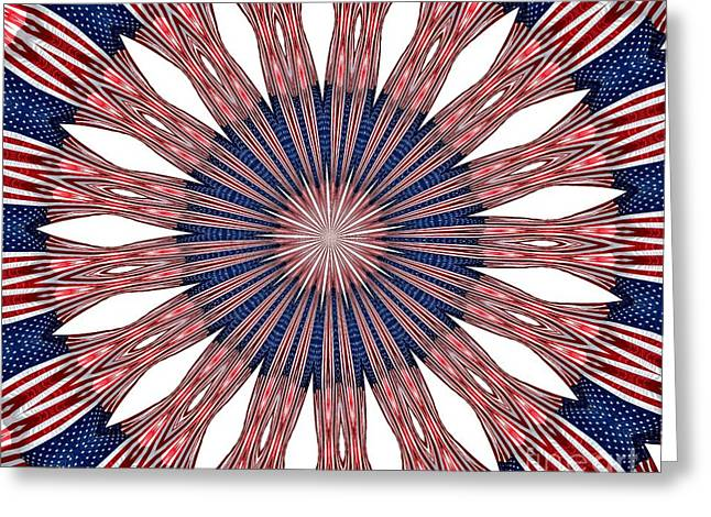 American Flag Kaleidoscope Abstract 5 Greeting Card by Rose Santuci-Sofranko