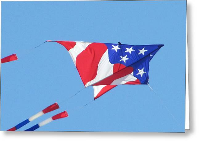 American Flag Kite Greeting Card by Gregory Smith