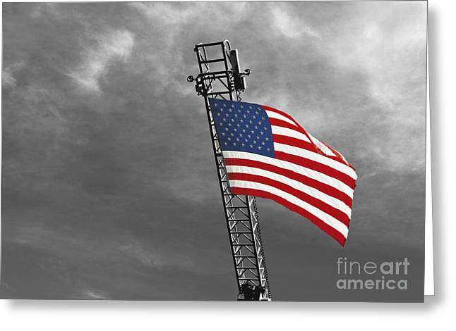 American Flag On A Fire Truck Ladder Greeting Card by Mark Hendrickson