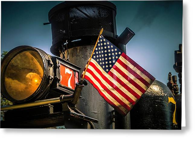 American Flag On Engine Number Seven Greeting Card by Garry Gay