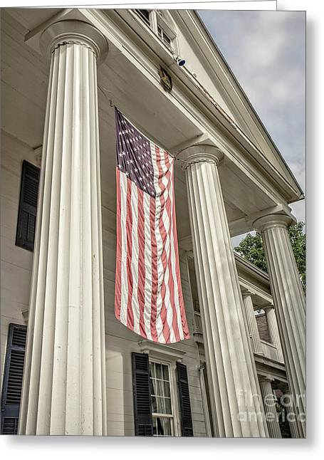American Flag On Period House Greeting Card