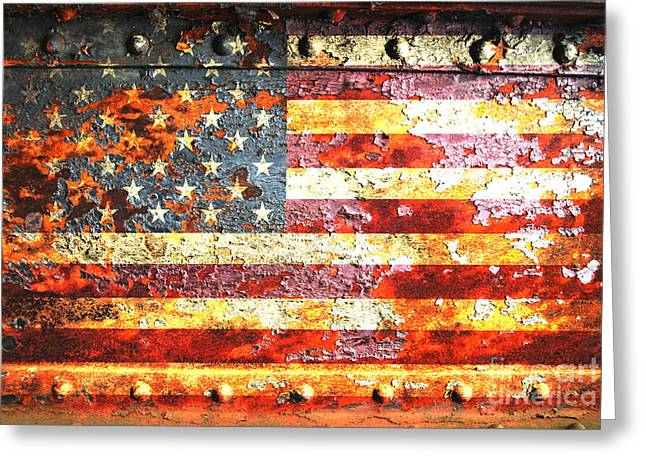 American Flag On Rusted Riveted Metal Door Greeting Card by M L C