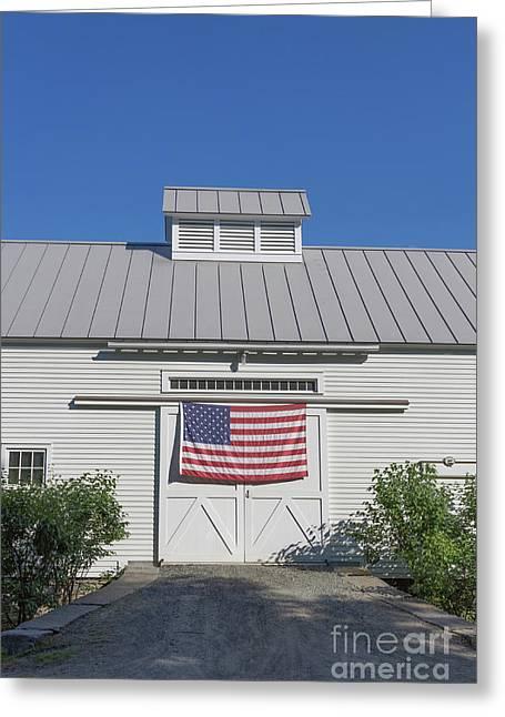 American Flag On White Barn Greeting Card