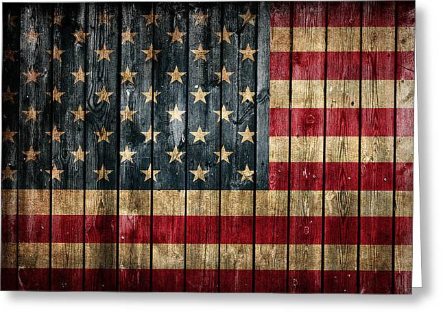 American Flag Painted On Reclaimed Barn Wood Greeting Card by Design Turnpike