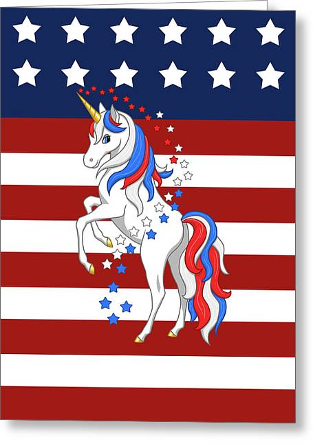 Greeting Card featuring the digital art American Flag Patriotic Unicorn by Crista Forest