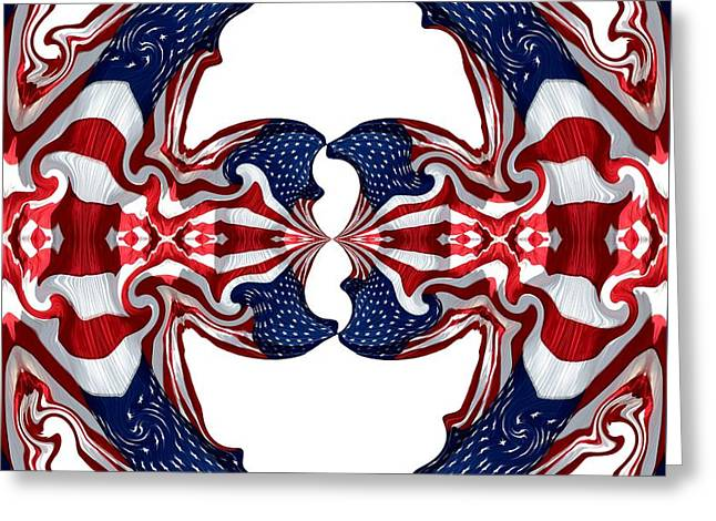 American Flag Polar Coordinate Abstract 1 Greeting Card by Rose Santuci-Sofranko