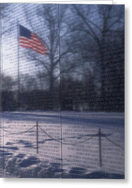 American Flag Reflected In The Vietnam Greeting Card by Stacy Gold
