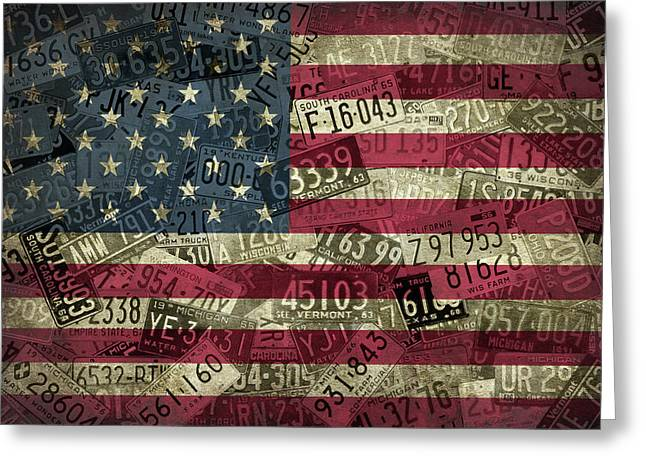 American Flag Vintage Assorted License Plate Art Greeting Card by Design Turnpike