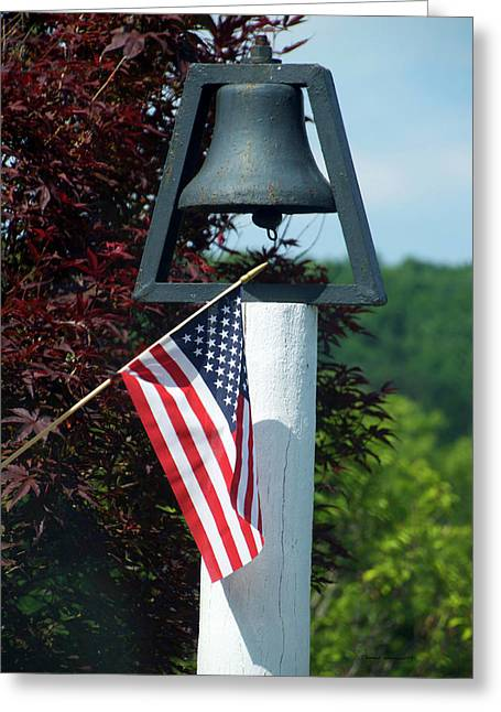 American Flag With Bell Greeting Card