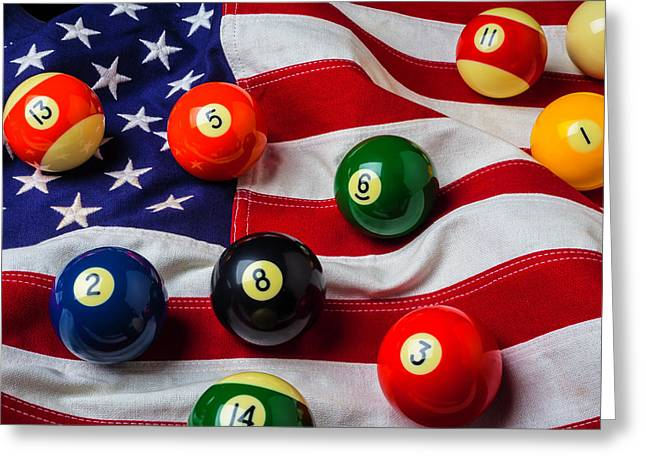 American Flag With Game Pool Balls Greeting Card