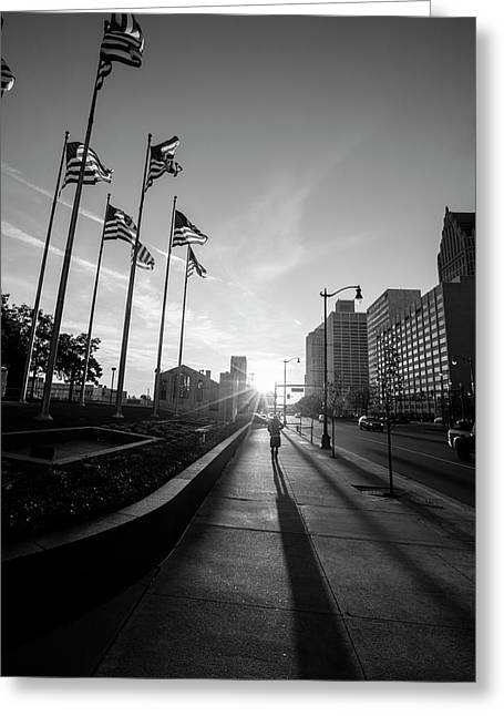 American Flags Detroit Black And White  Greeting Card by John McGraw