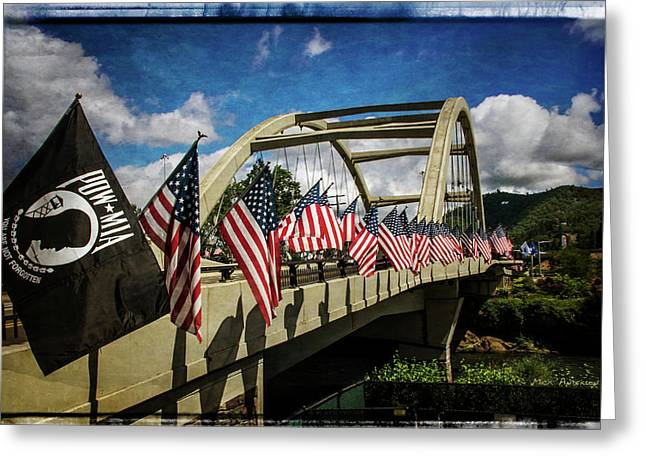 American Flags On Rogue River Bridge Greeting Card by Mick Anderson
