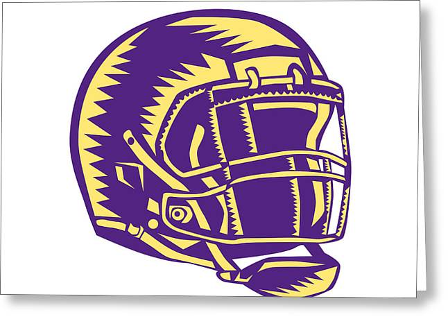 American Football Helmet Woodcut Greeting Card by Aloysius Patrimonio