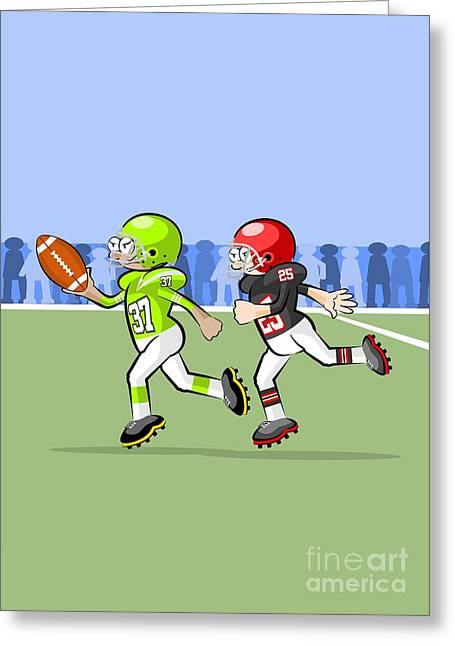 American Football Player Escapes From His Pursuer With Ball In Hand Greeting Card