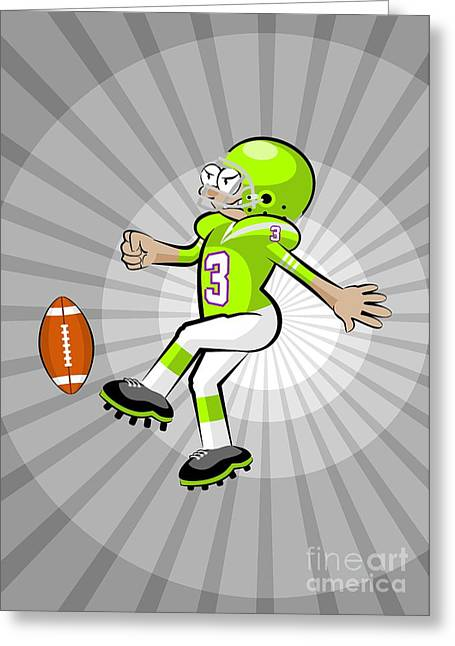 American Football Player Kicking The Ball On A Background Of Grayscale Rays. Greeting Card