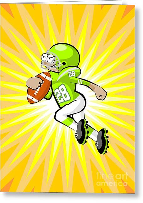 American Football Player Runs Fast With The Ball In His Hands Greeting Card