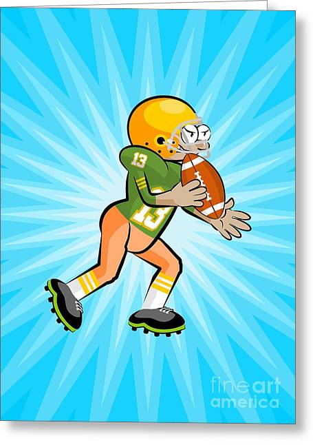American Football Player With Ball In Hand On A Background With Light Blue Rays. Greeting Card
