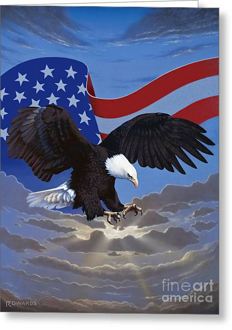 American Freedom Greeting Card by Ross Edwards