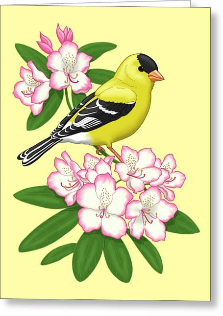 American Goldfinch And Coast Rhododendron Greeting Card