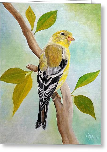 Greeting Card featuring the painting Pretty American Goldfinch by Angeles M Pomata
