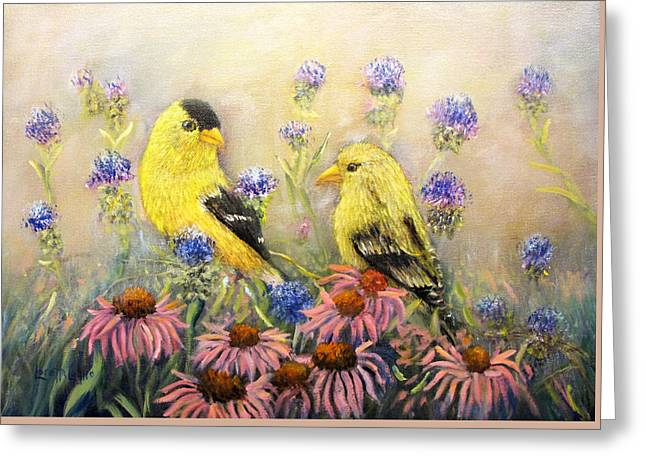 American Goldfinch Pair Greeting Card