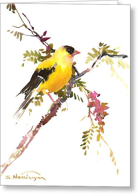 American Goldfinch Greeting Card by Suren Nersisyan