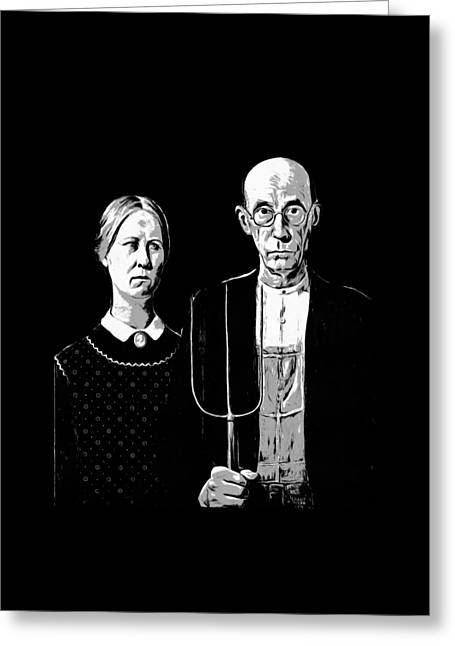 American Gothic Graphic Grant Wood Black White Tee Greeting Card
