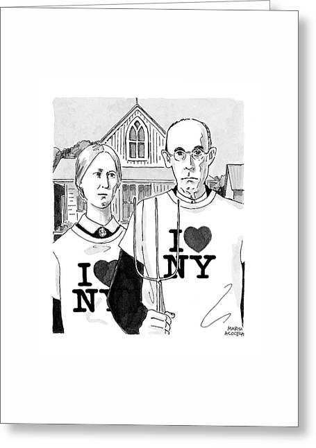 American Gothic Greeting Card by Marisa Acocella Marchetto