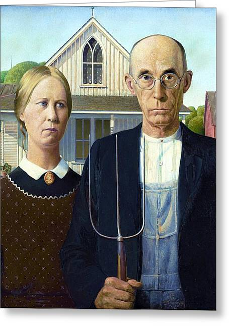 Pd Greeting Cards - American Gothic Greeting Card by Pg Reproductions