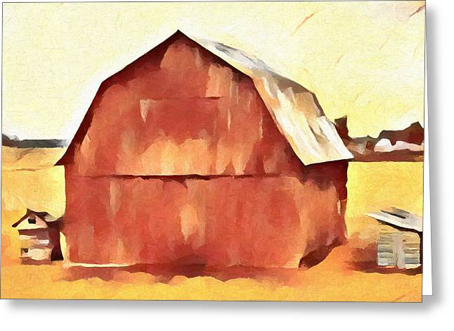 American Gothic Red Barn Greeting Card by Dan Sproul