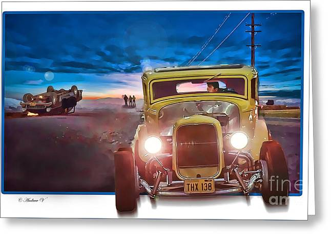 American Graffiti Paradise Road Greeting Card by CoolnessSixtyEightArt