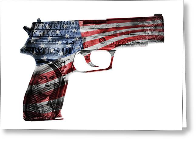 American Gun  Greeting Card by Les Cunliffe