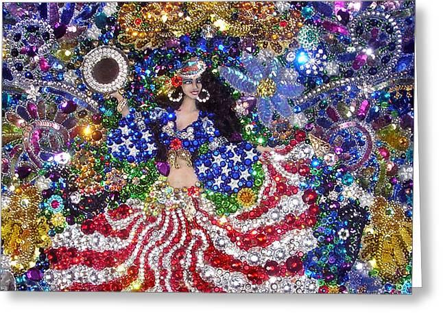 American Gypsy Queen. Beadwork With Rhinestones Greeting Card